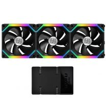 Lian Li SL120 Uni RGB LED 120mm Case Fan (3pcs) - Black (With Controller)