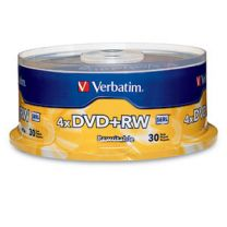 Verbatim DVD+RW 4.7GB 4X Branded 30pk Spindle 30 pc(s)