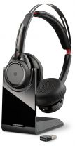 Plantronics Voyager Focus UC B825 Wireless Headset Head-band Black Bluetooth Charging Stand