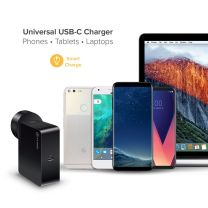 """Alogic USB-C Wall Charger 45W """" Travel Edition"""" Includes plugs for AU EU UK US+2m Charging Cable Black"""