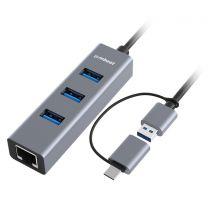 MBeat Interface Hub USB 3.2 Gen 1 (3.1 1) Type-A + Type-C 5000 Mbit/s Black