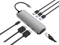 Blupeak USB-C Multi-Port Adapter 2xHDMI/3xUSB3.0/RJ45/PD