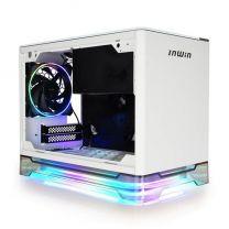 InWin A1 PLUS ARGB Qi Charger TG Mini-ITX Case with 650W 80+ Gold PSU - White