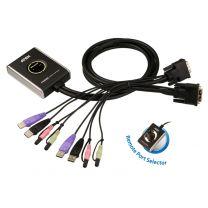ATEN 2 Port USB 2.0 DVI / Audio Cable KVM Switch