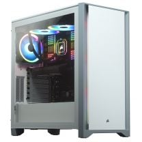 Corsair 400D Airflow Solid Front ATX Tempered Glass Computer Case - White