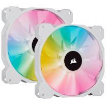 Corsair SP140 White RGB Elite 140mm RGB LED Fan - Dual Fan Kit With Lighting Node CORE