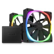 NZXT Aer RGB 2 140mm Fans With RGB & Fan Controller Twin Starter Pack - Matte Black