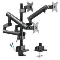 Brateck Aluminum Slim Pole Held Mechanical Spring Triple Monitor Arm