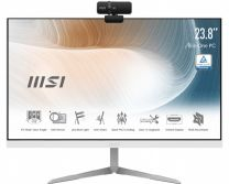 """MSI Modern AM241 23.8"""" All-In-One Non-Touch PC, i7-1165G7, 16GB RAM, 1TB SSD, Windows 10 Pro - White"""